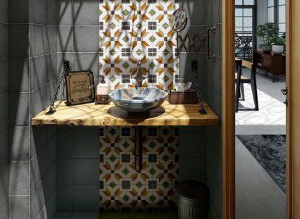 carreaux ciment bois salle de bain