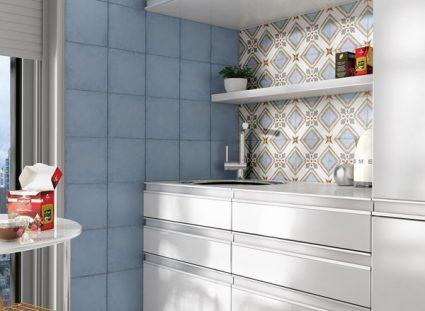 carreaux ciment imitation gres cerame dans cuisine