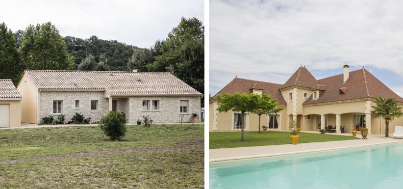 maison moderne et maison périgourdine