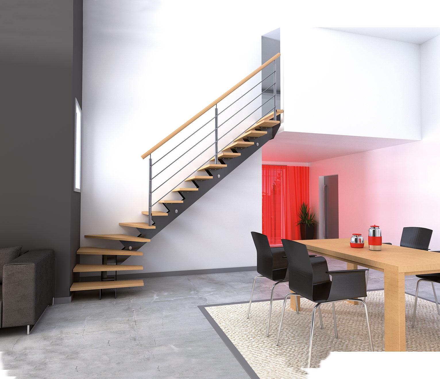 un escalier en bois
