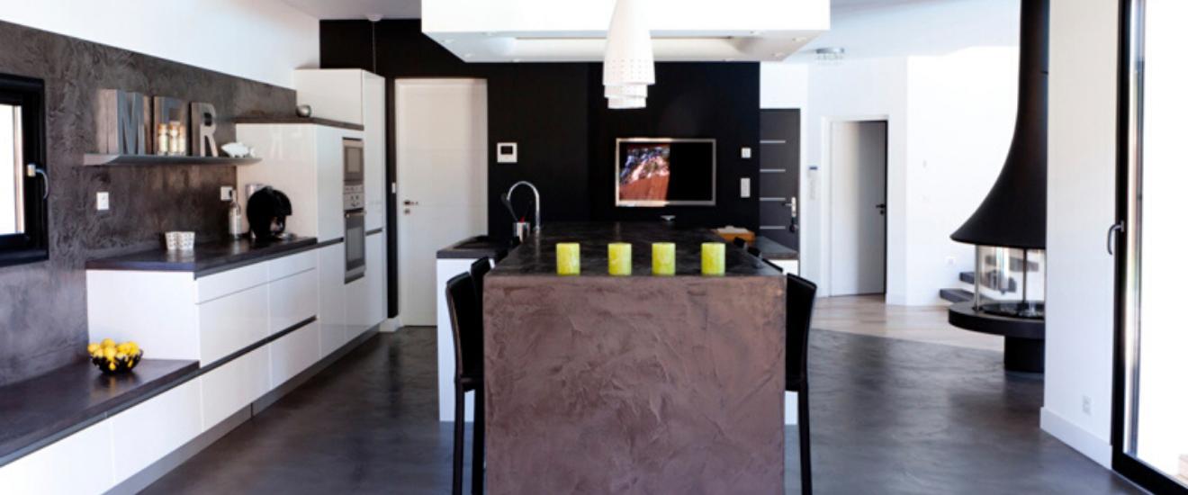 béton cire dans la cuisine moderne