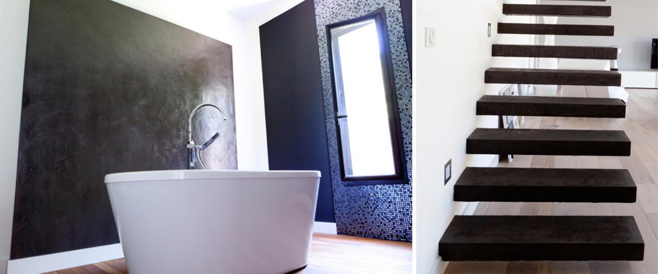 beton cire salle de bain et escalier
