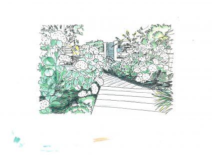 inspiration jardin paysager croquis entrée fleurie