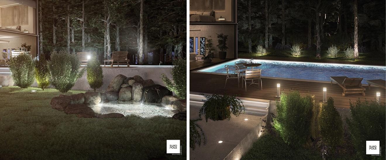 éclairage extérieur pour la piscine