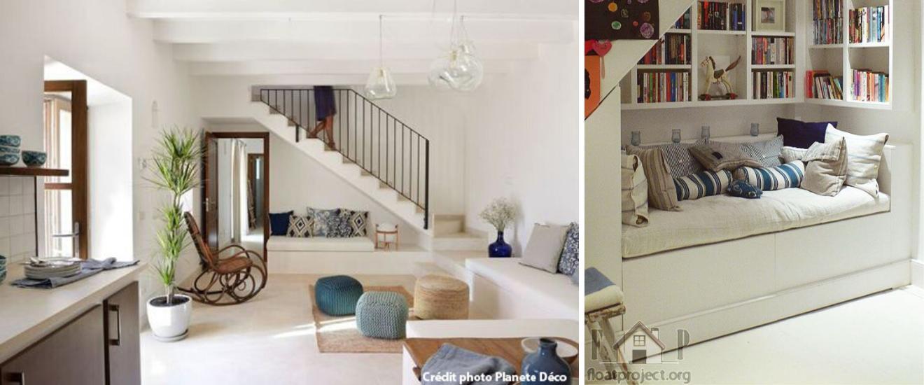 espace cosy coin sous l'escalier