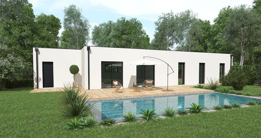 maison contemporaine façade arrière avec piscine skiathos