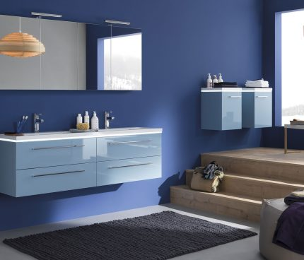 le meuble de salle de bains sanijura bleu