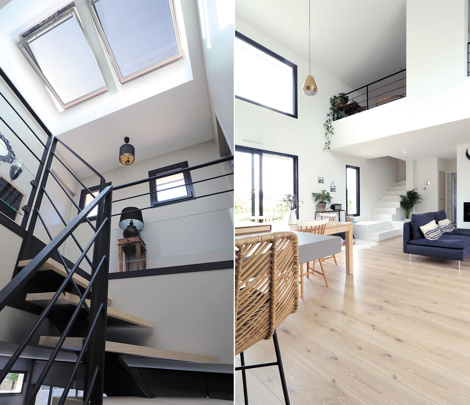 la lumière dans le séjour et escalier