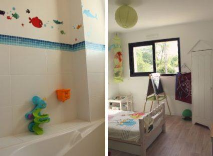 maison de ville chambre enfant et salle de bains