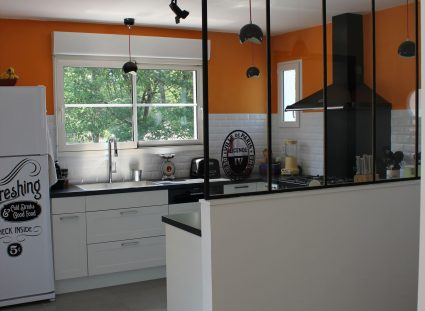 maison ossature bois cuisine verriere atelier
