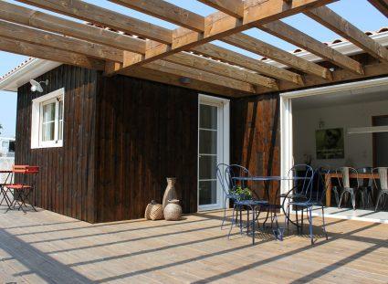maison ossature bois pergola