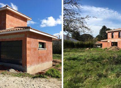 maison en chantier sur grand terrain