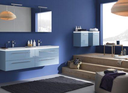 meuble salle de bain halo couleur bleu double vasque