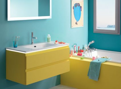 meuble salle de bain halo couleur jaune