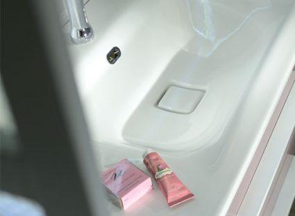 meuble salle de bain halo couleur rose