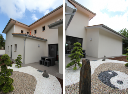 villa contemporaine avec jardin zen