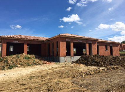 chantier maison plain-pied élévation des murs