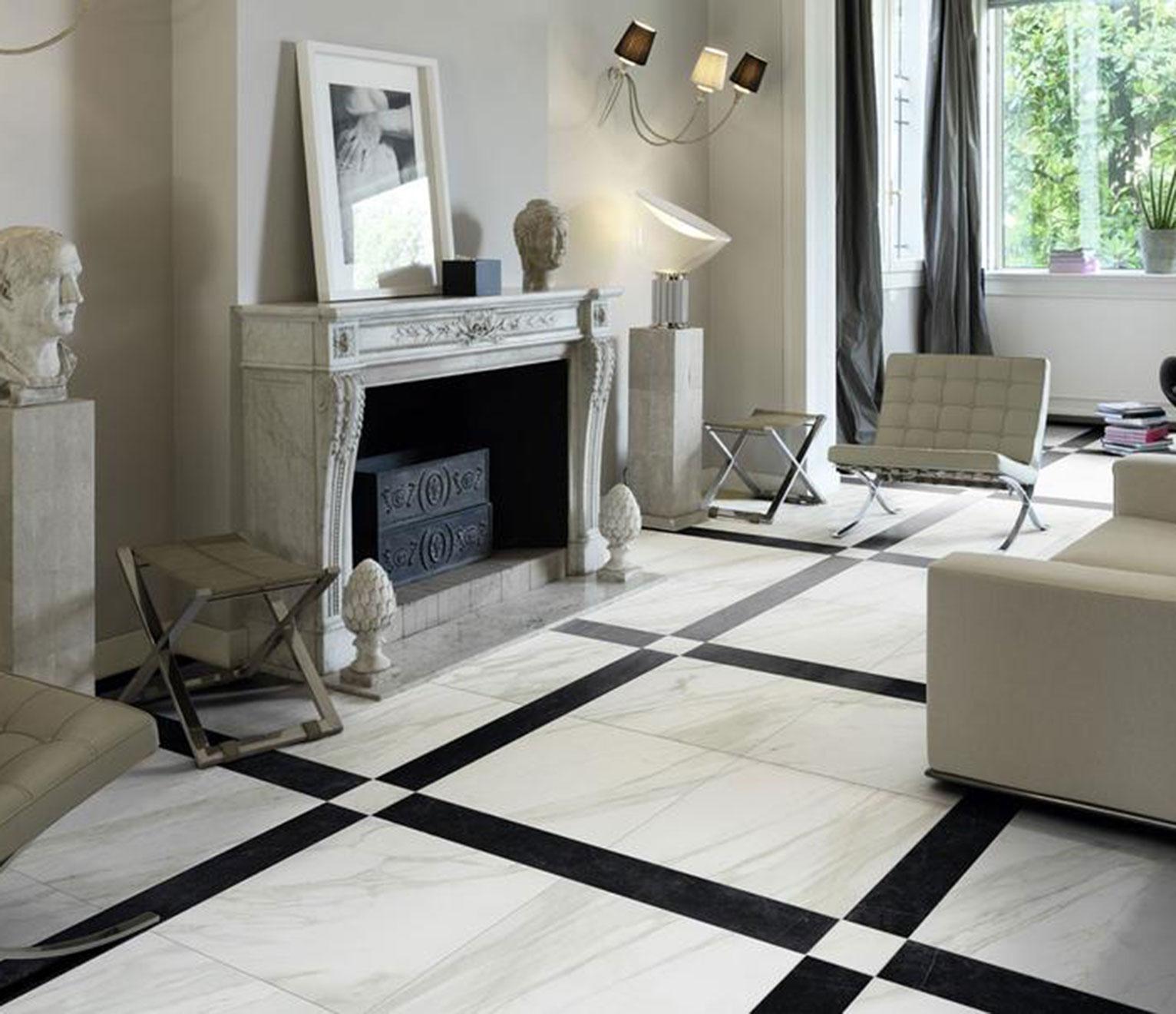 carreaux marbre épurés pour salon design