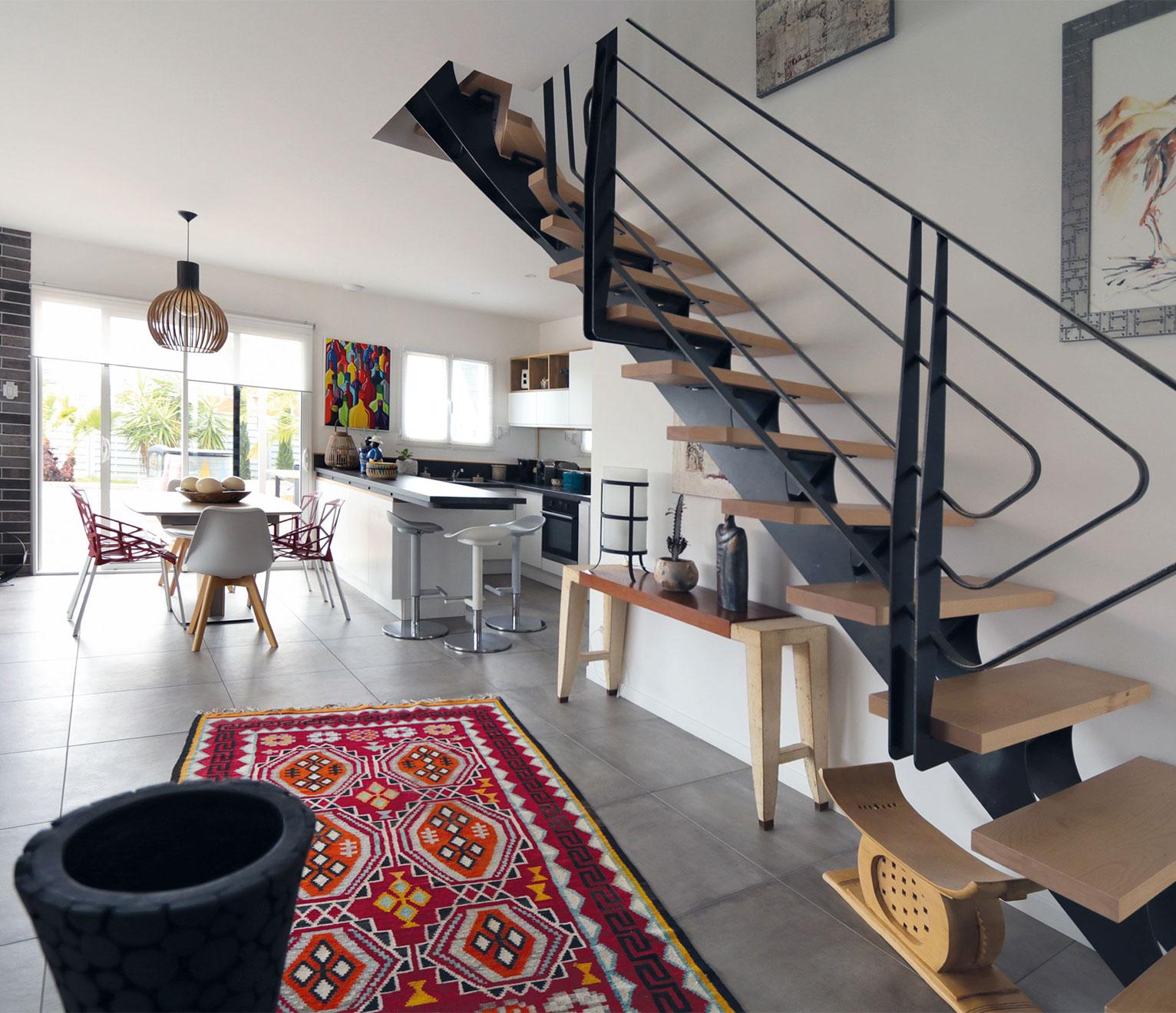 escalier bois moderne maison