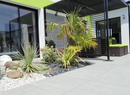 jardin zen avec palmiers