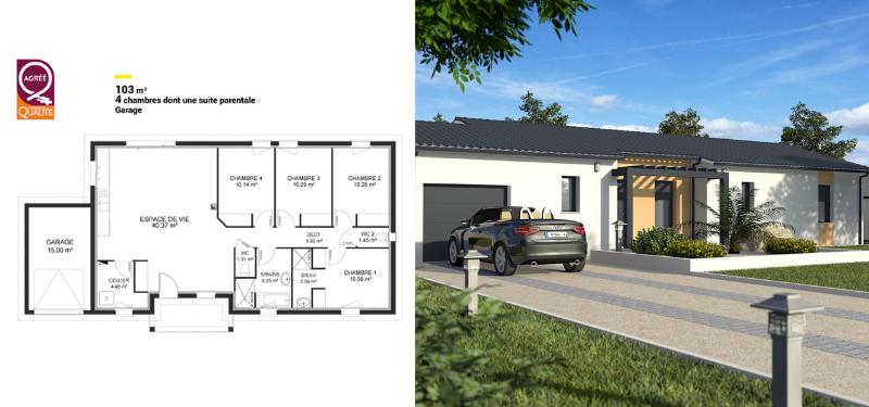 modèle de maison de 100 m² avec 4 chambres