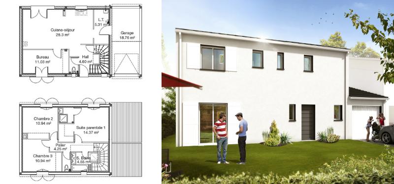 modèle de maison à étage de 100 m²