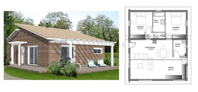 modèle de maison en bois de 100 m²