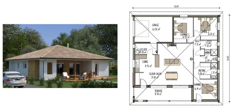 modèle de maison de plain pied 100 m² avec bardage bois