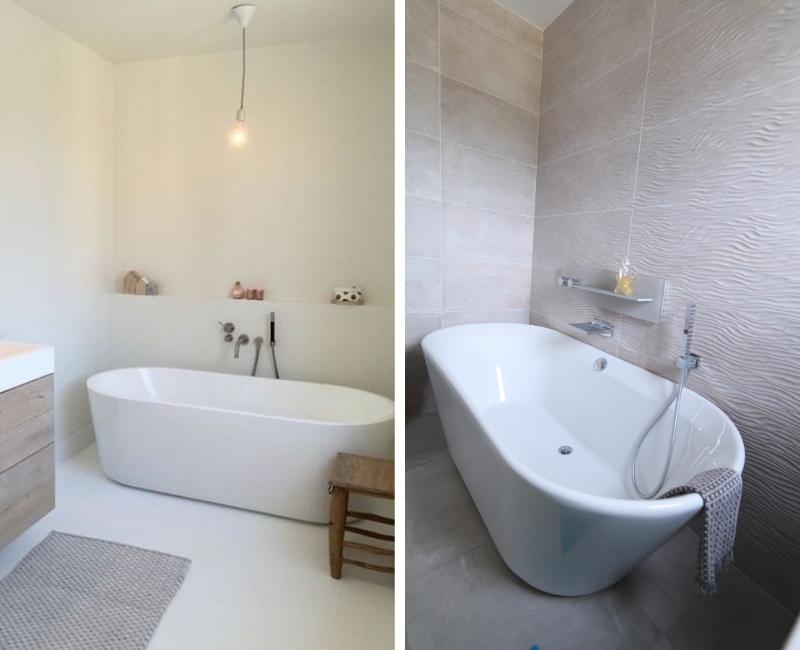 salle de bains avec baignoire en îlot