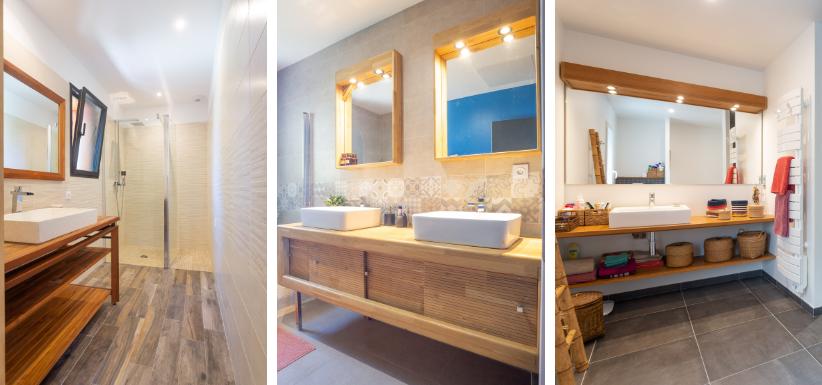 salle de bains avec du bois