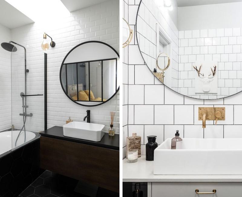 salles de bains avec robinetterie noire ou or