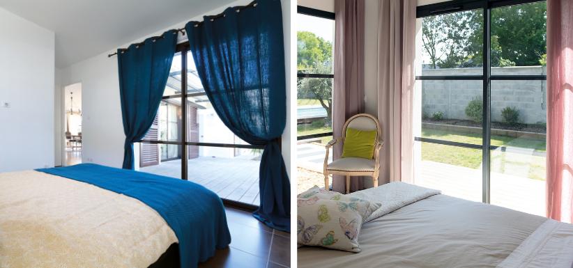 chambres lumineuses avec des rideaux colorés