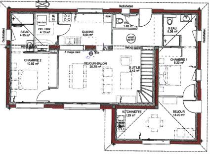 plan RDC maison à étage