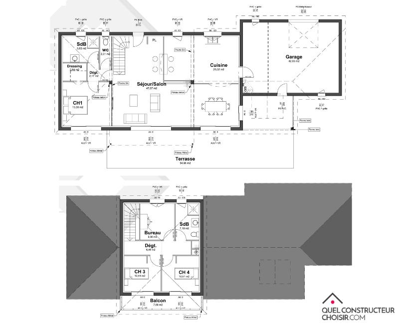 plan de maison contemporaine à étage