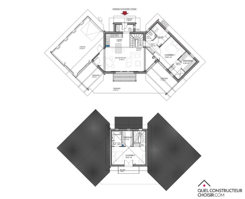 plan de maison à étage 130 m²