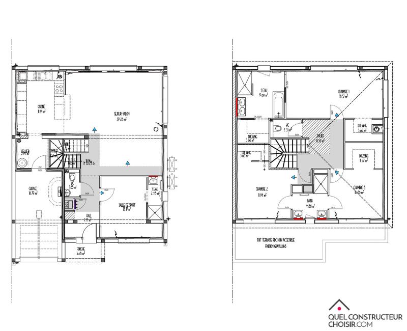 plan de maison a étage 3 chambres