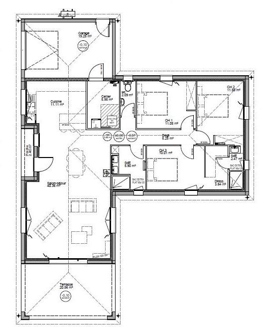 Plan de maison plain pied évolutive
