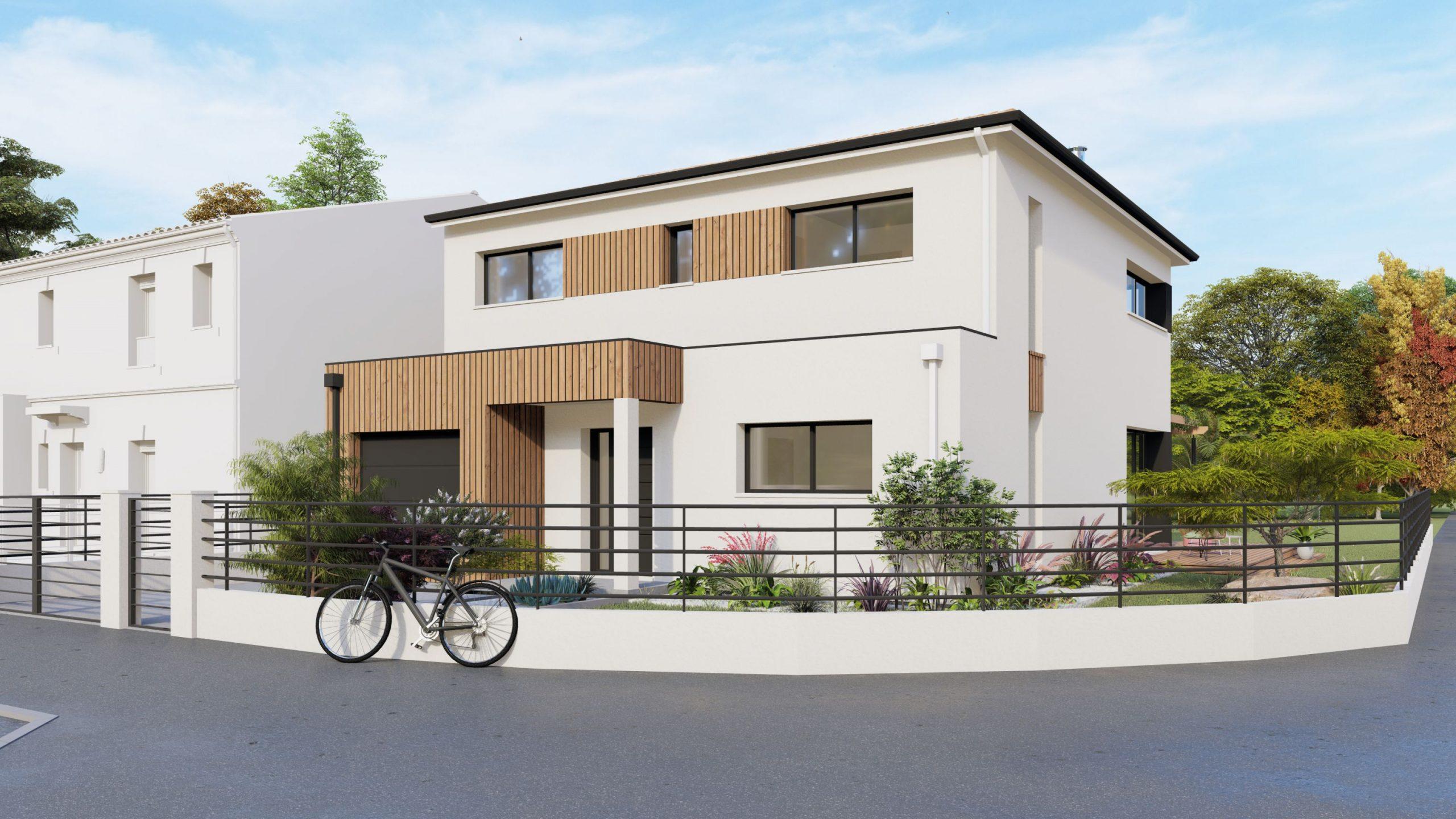 facade bois maison a étage