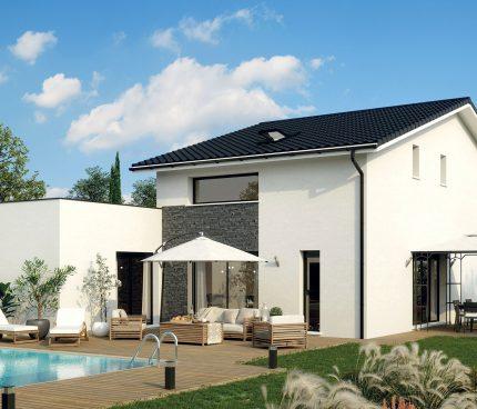 maison a étage avec piscine