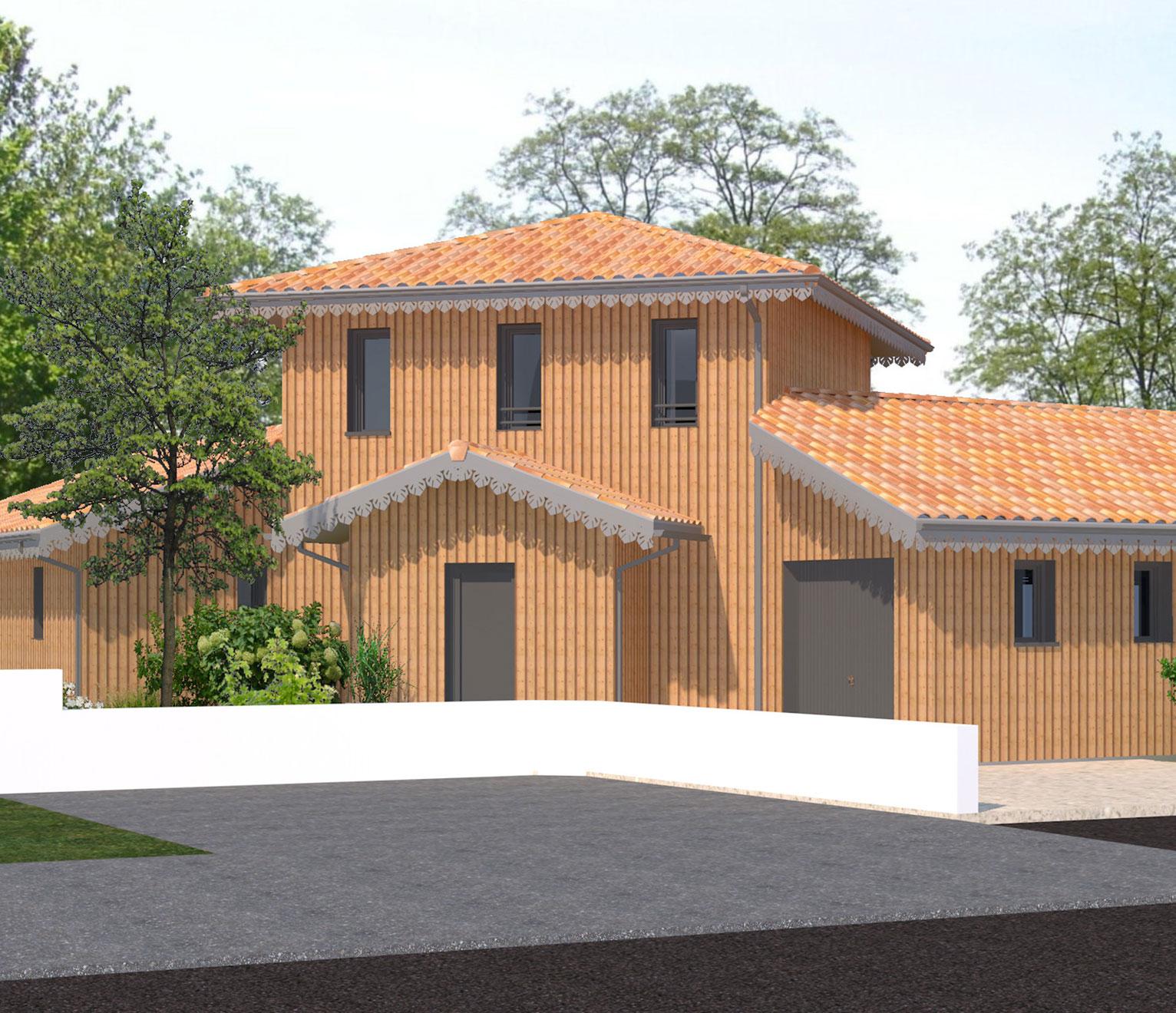 maison a étage en bois