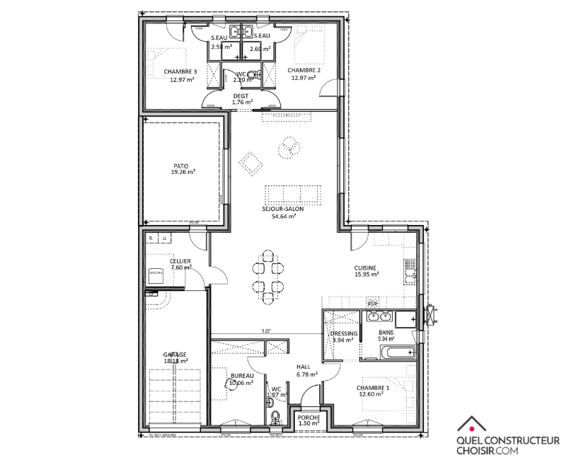 plan maison plaid 150 m²