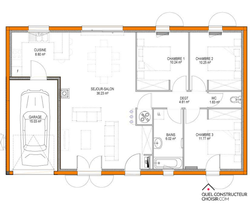 plan maison plain pied Goji