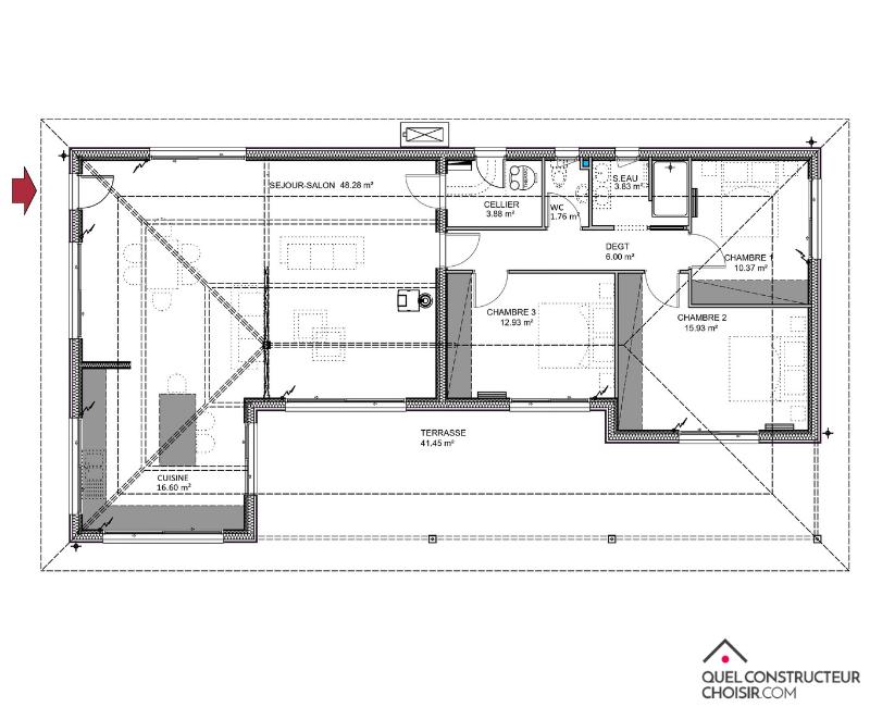 plan maison plain pied bois