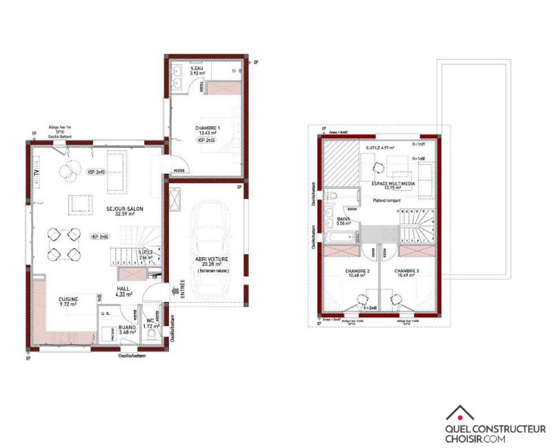plan de maison à étage 110 m²