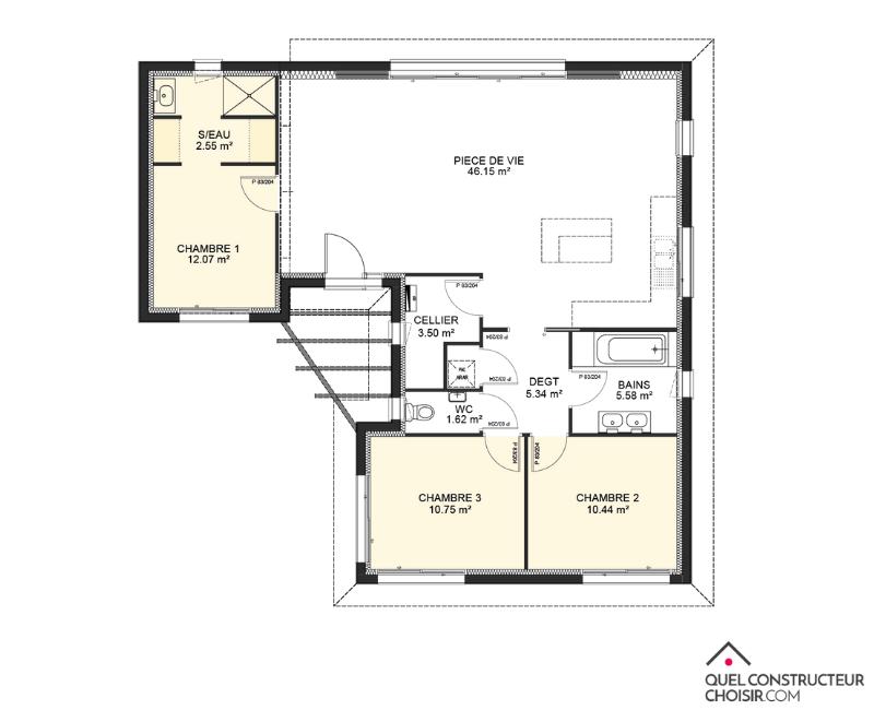 plan maison moderne 3 chambres