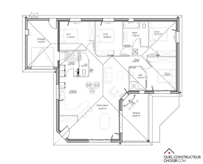 Plan maison moderne 4 chambres
