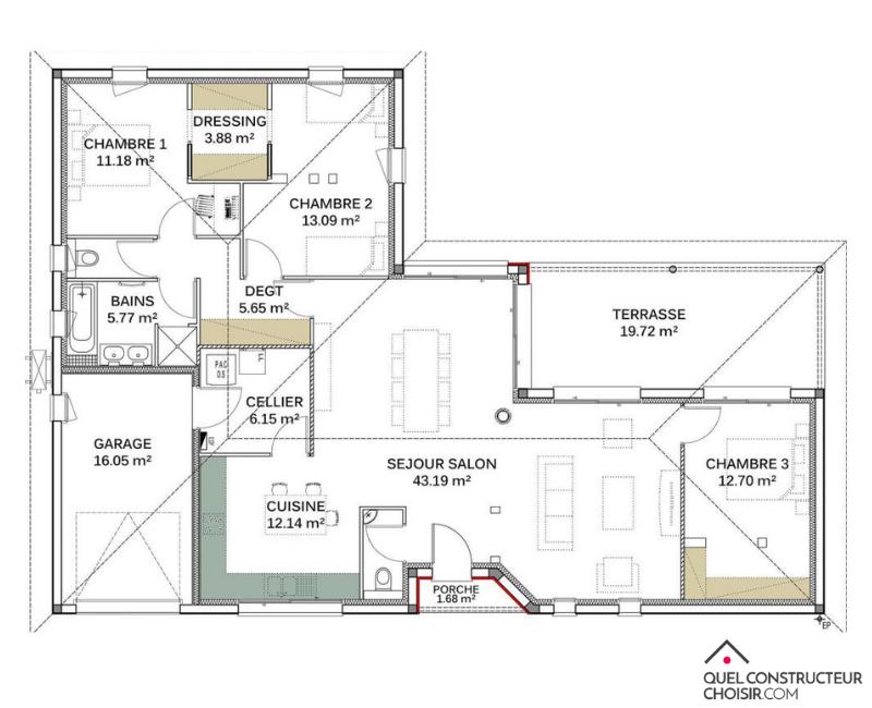 plan de maison moderne de 150 m²
