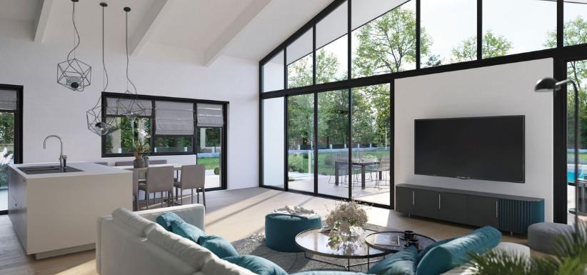 maison modulable avec baies vitrées